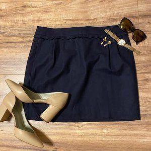 J Crew Navy Blue Scallop Trim Mini Skirt Size 12
